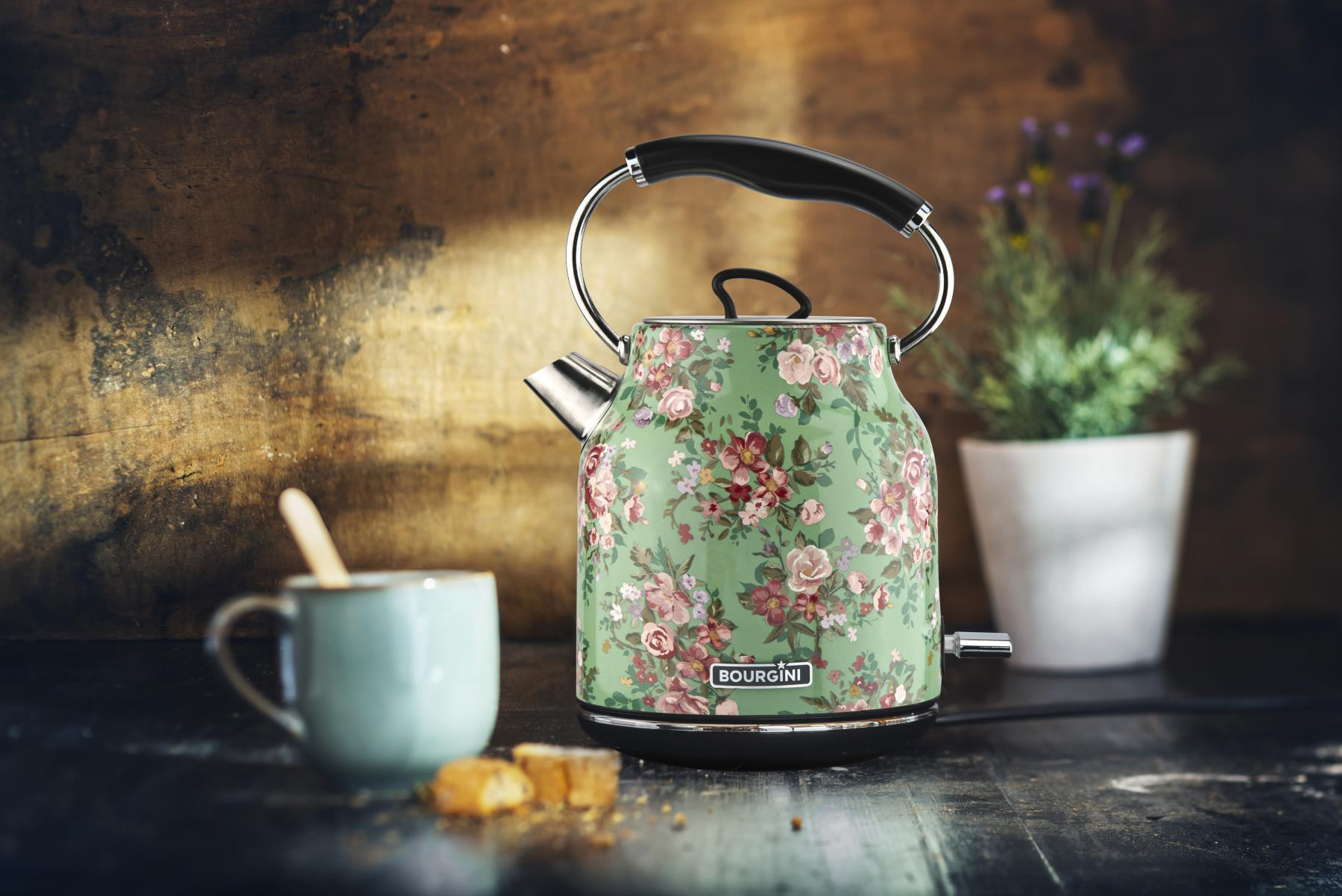 Floral Water Kettle Green 1.7L